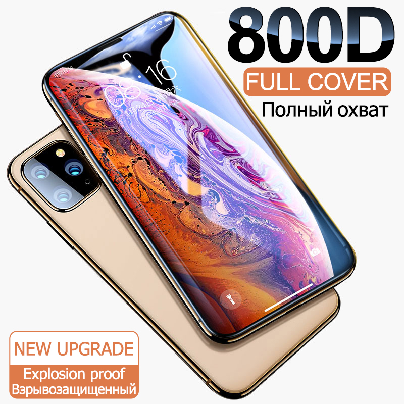 800D Full Cover Tempered Glass For IPhone 11 Pro X XR XS MAX Glass Iphone 11 Pro Screen Protector Protective Glass On Iphone 11