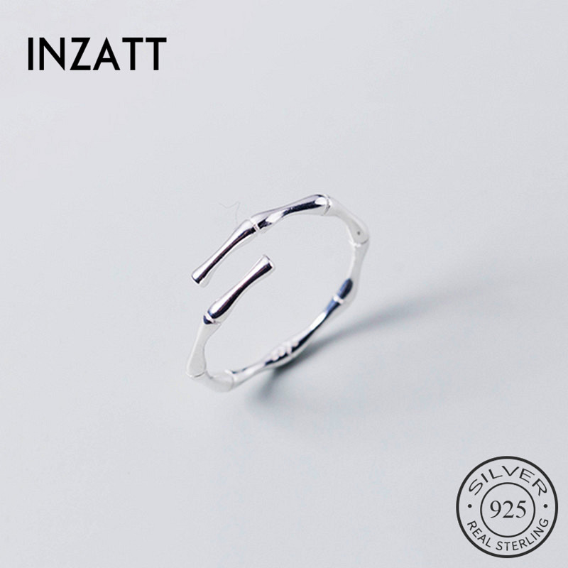 INZATT Real 925 Sterling Silver Plant Opening Ring For Fashion Women Bamboo Knot Fine Jewelry Minimalist Accessories 2019 Gift