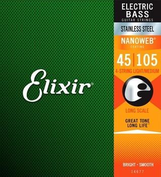 Elixir 14677 Stainless Steel Nanoweb Coated 4 String Bass Strings Light Medium Long Scale 45-105