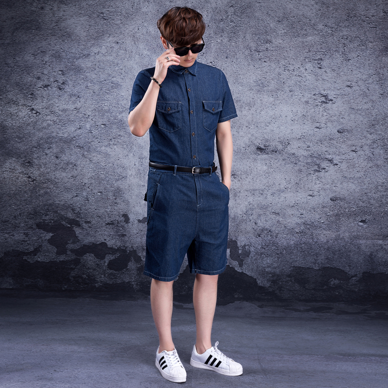 Сиамский джинсовый мужской комбинезон, джинсовый костюм, сиамский мужской спортивный костюм, Мужская одежда, джинсовые шорты с коротким