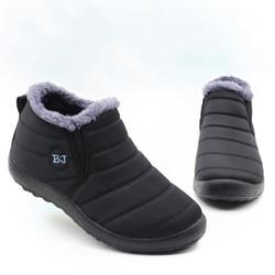 Botas de inverno de pouco peso para homens botas de neve à prova dwaterproof água calçados de inverno plus size 46 deslizamento em unisex tornozelo botas de inverno