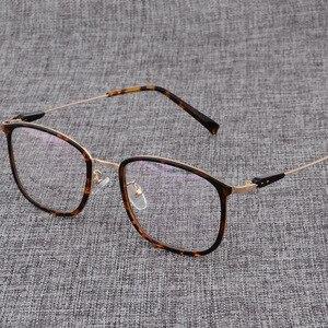 Image 2 - سبيكة النظارات الإطار الرجال أو النساء خفيفة مربع قصر النظر وصفة طبية النظارات الذكور المعادن إطار بصري نظارات D825