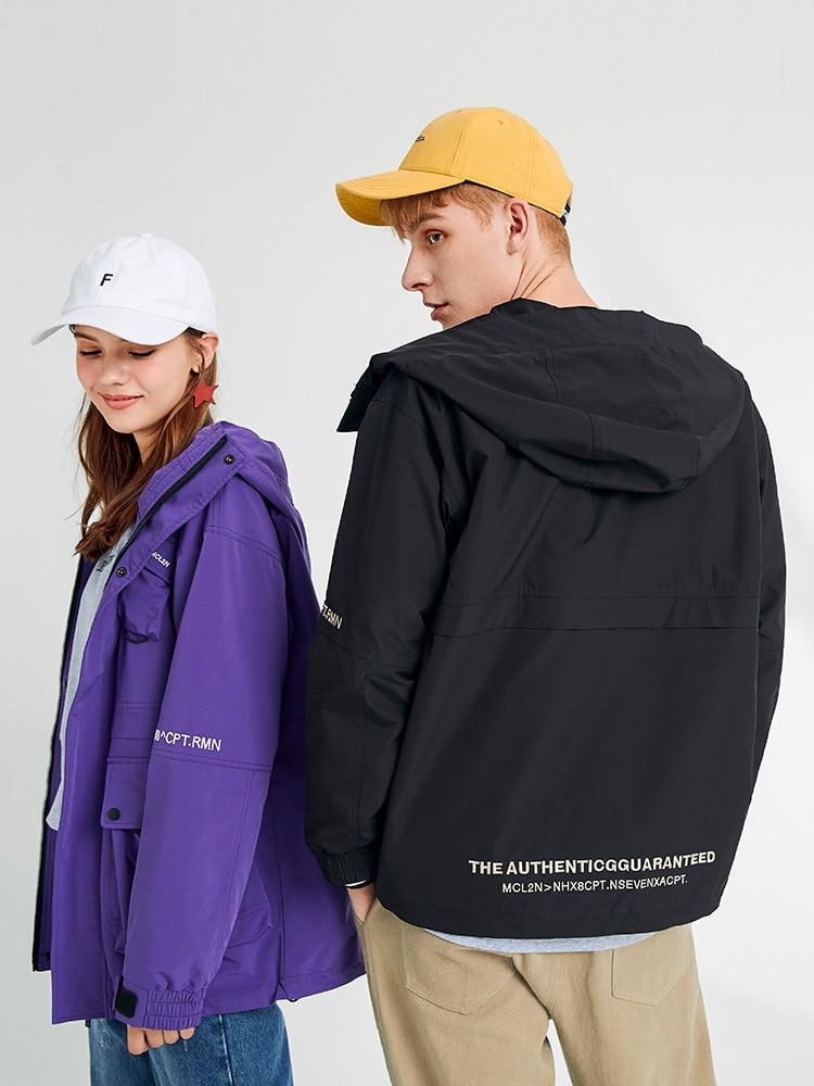 Pioneer Camp Men Windbreaker with Hood Purple Royal Blue Casual Techwear Women Boyfriend Jacket Anorak AJK908158T