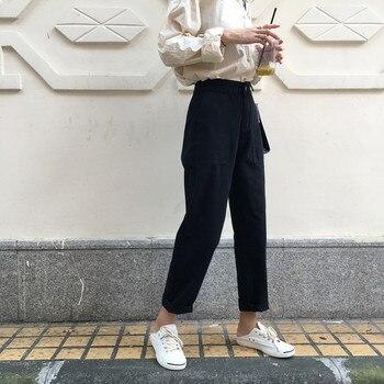Disweet Jeans Women Elastic High Waist Loose Jeans Casual Womens Wide Leg Trousers Students Denim Fashion Harajuku Pants 3