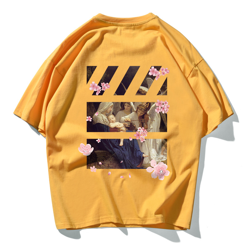 Men Trend Original Retro Street Hip-hop Printed Casual Tshirt Round Neck Cotton Loose Plus Size Harajuku Off White Couple Tshirt