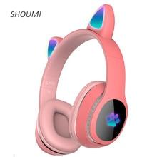 Draadloze Hoofdtelefoon Flash Licht Leuke Kat Helm Telefoon Bluetooth Headset Mic Led Kid Meisje Cadeaus Stereo Muziek Oortelefoon Kind Gift