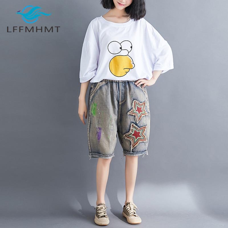 Women Summer Fashion Korea Style Vintage Frayed Pentagram Embroidery Patchwork Denim Jeans Shorts Female Casual Loose Hole Short