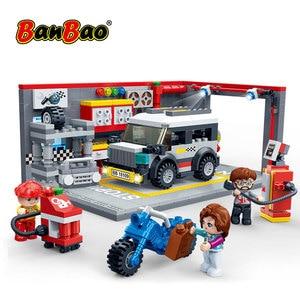 Image 2 - BanBao Racing Car Garage Pull Back Off road Vehicle Bricks Educational Building Blocks For Kids Children Model Toys Gift