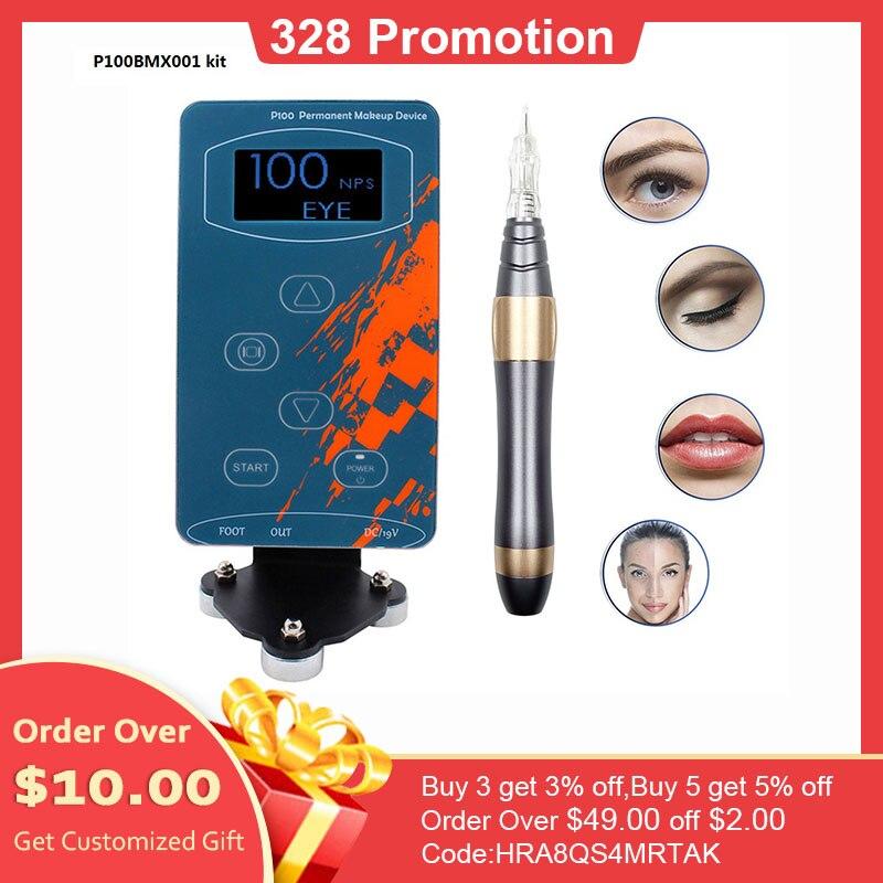 P100 Electric Tattoo Guns Permanent Makeup Rotary Machine Eyebrow Tattoo Kits Professional Pen For Eyebrow Eyeliner Lip
