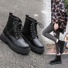 New Women Winter Boots Women Ankle Boots Waterproof Non-Slip Lace-up Martin Boots Ladies Fashion Shoes Black Botas Mujer цена