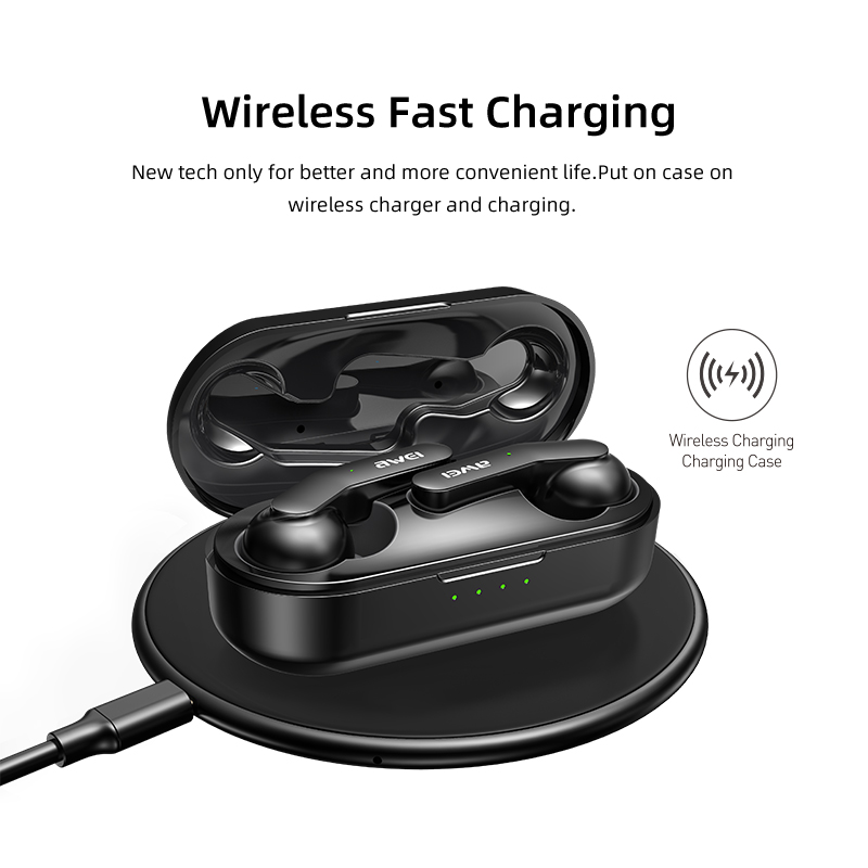 cheapest AWEI TWS Bluetooth V5 0 Earphone True Wireless Charging Noise Canceling HiFi 6D Bass With Mic Touch Control Gaming Headset