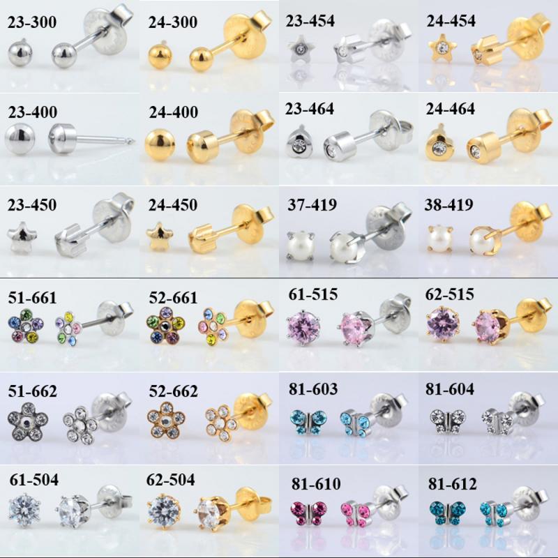 1 Pair 316L Stainless Steel Allergy Free Ear Studs CZ Heart Star Flower Crown Butterfly Sterilized Packaged Earrings Women Baby