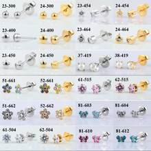 1 paar 316L Edelstahl Allergie Frei Ohr Bolzen CZ Herz Stern Blume Crown Schmetterling Sterilisiert Verpackt Ohrringe Frauen Baby