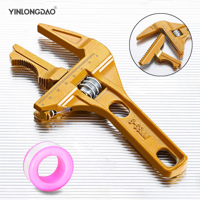 Large Opening Adjustable Wrench Multi-function Spanner Wrench Bathroom Tool