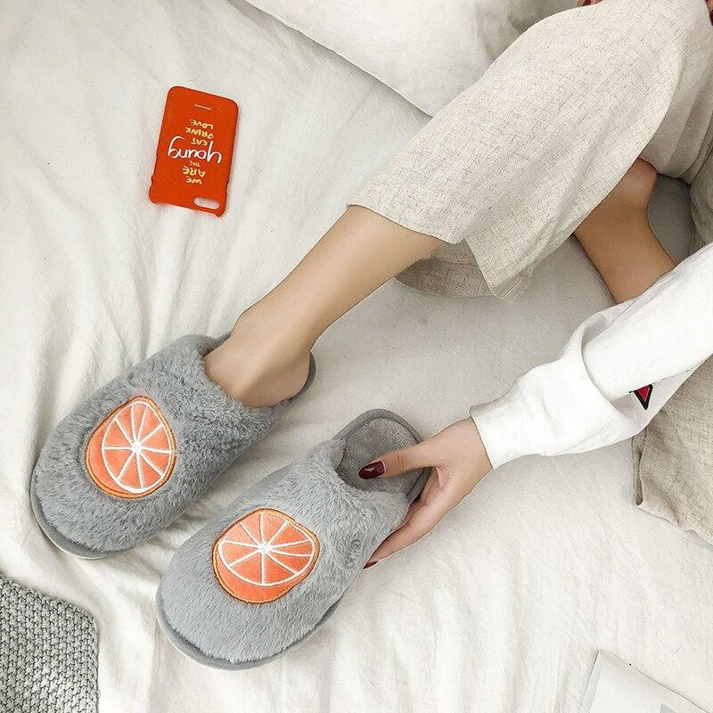 SWQZVT Indoor furry slippers women 2020 fruit print bedroom fur slides women shoes non-slip flat soft house floor female slipper (13)