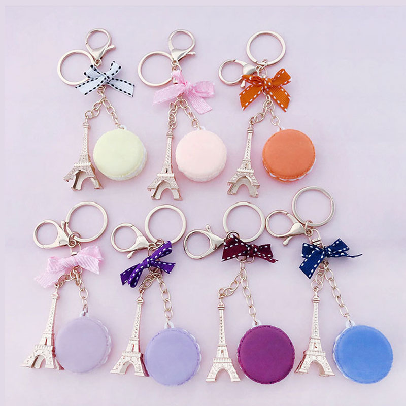 New Paris Tower Macaron Cake Keychain Dessert Model Keychains Car Pendant Ornaments Women Bags Jewelry Keyring Gifts porte clef