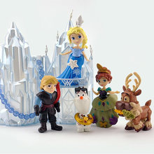 6 pçs/set Disney Congelado Princesa Anna Elsa Olaf Sven E Castelo Palácio do Gelo Trono Action Figure Anime Estatueta Modelo Toy para As Crianças(China)