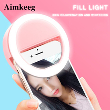 Novelty Led Fill Light Ring Selfie Lamp for Phone Camera Portable ClipOn Lamps Women Girl Night Darkness Beauty Enhancing Lights cheap Aimkeeg CN(Origin) ROHS Rechargeable Battery Lithium Metal LED Bulbs HOLIDAY 1 year Support