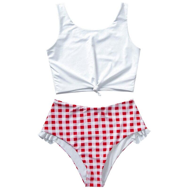 Knot Hem Bikini Women High Waist Braziliam Biquini Swimsuit Plaind Summer Beach Wear 2020 Mujer Beach Wear Tankini Swimming Suit