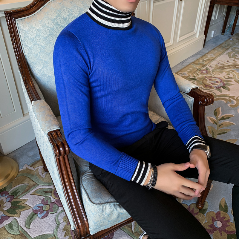 Autumn British Style Comfortable Turtleneck Casual Mens Sweater Long Sleeve Knitting Garment Stripe Fake Two Pieces Sweater Men