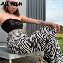 ALLNeon Women's Long Pants Zebra Pattern Skinny Straight Pants Vintage High Waist Pants Rave Festival Pants E girl Streetwear