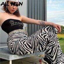 Straight Pants E-Girl Zebra-Pattern Vintage Rave Streetwear Skinny High-Waist Women Allneon