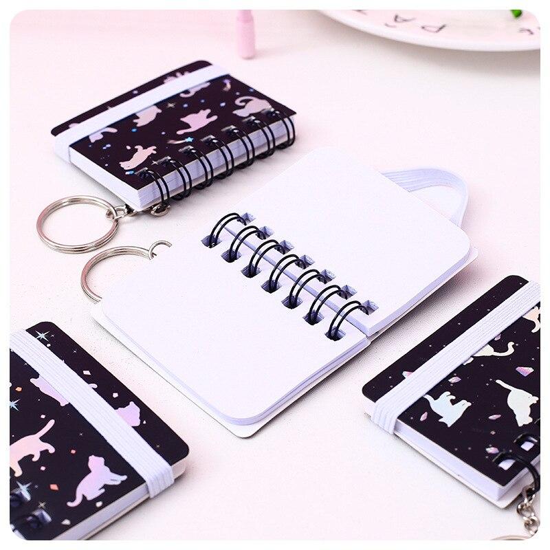 1 Pcs Cartoon Coil Notepad Mini Keychain Small Book Portable Student Portable Diary Notebook Mini Shorthand Book