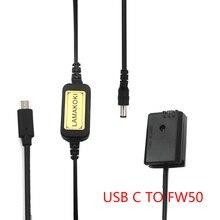 NP FW50 NPFW50 Digital batería simulada cargador USB C Cable de 5V 9V 12V para sony a7II a6000 a7RII a6300 a5100 a7s a7 a7R a7sII