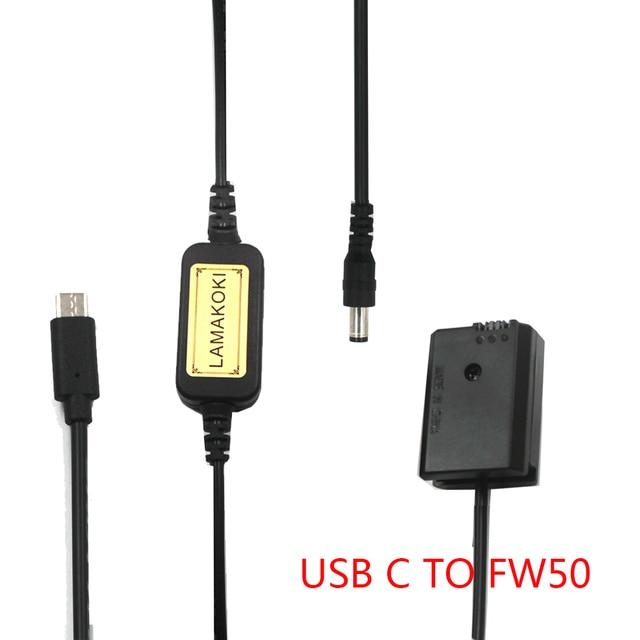 "NP FW50 NPFW50 דיגיטלי dummy סוללה מטען USB C כבל פ""ד 5V 9V 12V עבור sony a7II a6000 a7RII a6300 a5100 a7s a7 a7R a7sII"