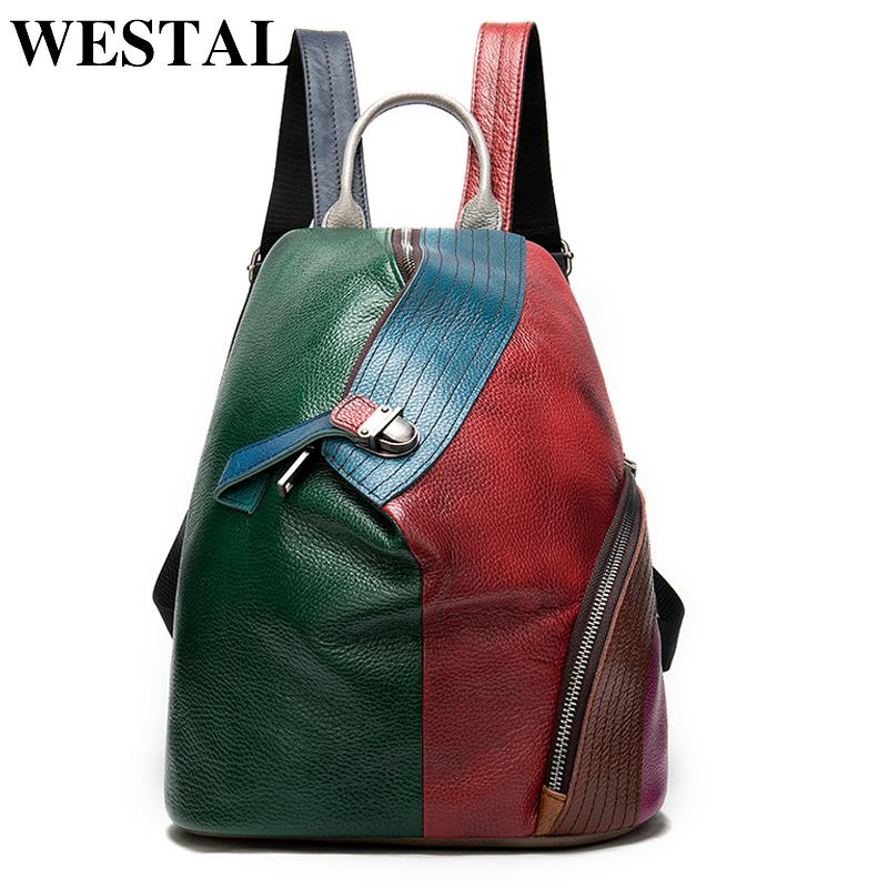 WESTAL Leather Women Backpack Genuine Leather Travel Backpack For Laptop School Bags Retro Knapsack Female Vintage Packsack 008