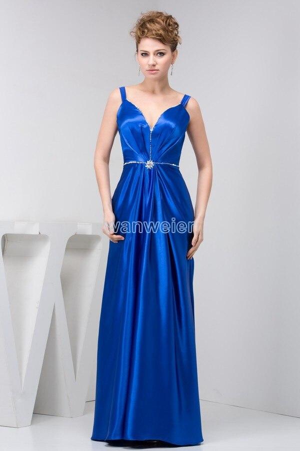 Free Shipping 2016 Design Hot Seller V-neck Long Formal Gown Real Photo Custom Size/color Blue Beading Long Dress Evening Dress