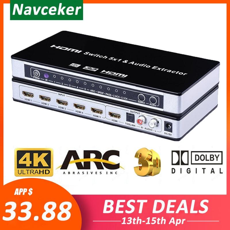 HDMI v1.4 4x1 Switch Box TOSlink Coaxial Digital Audio Output ARC 4Kx2K 3D MHL