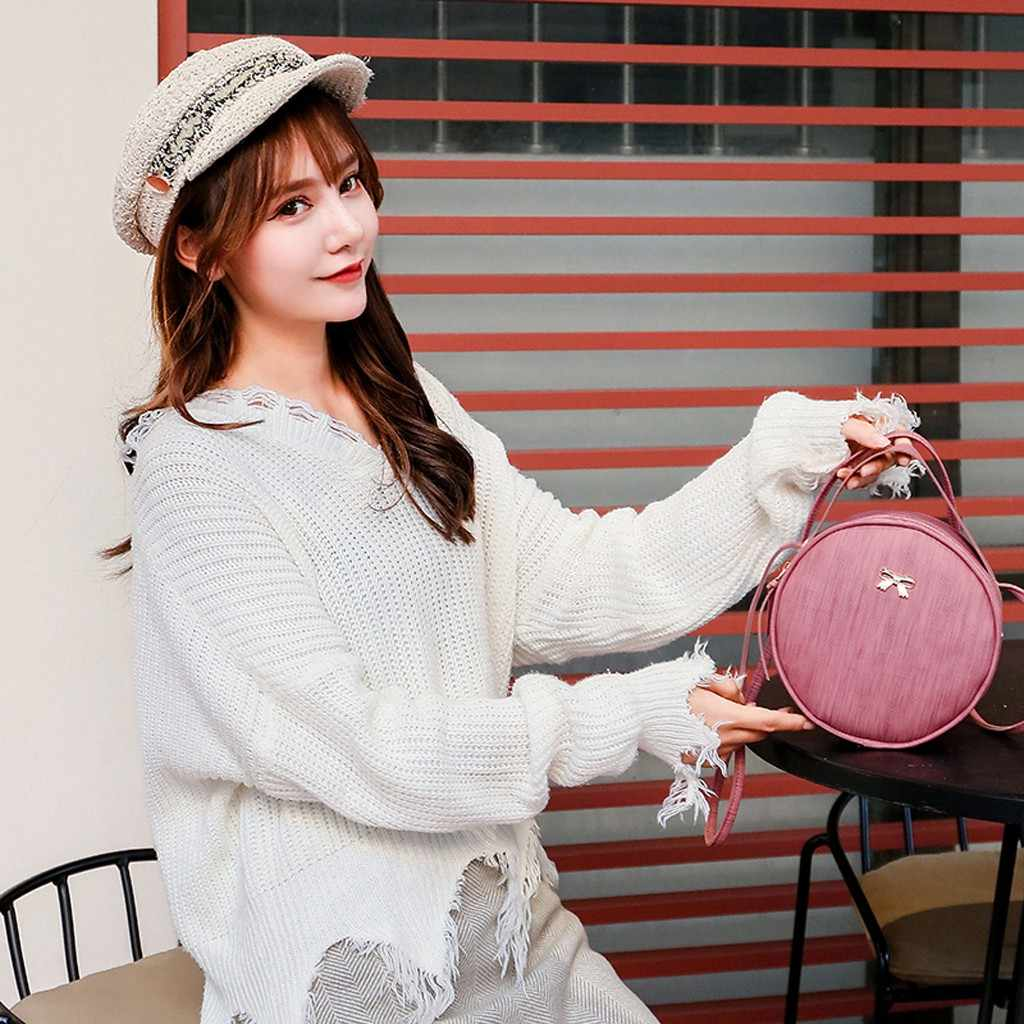 Wanita Round Tas Bahu Desainer Tas Selempang untuk Wanita Pu Kulit Messenger Tas Fashion Tas Tangan Mini Tote #25