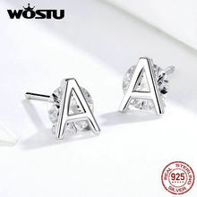 WOSTU 100% Real 925 Sterling Silver A-Z Alphabet Stud Earrings Simple Design Letters CZ Earrings For Women 2019 New Jewelry(China)