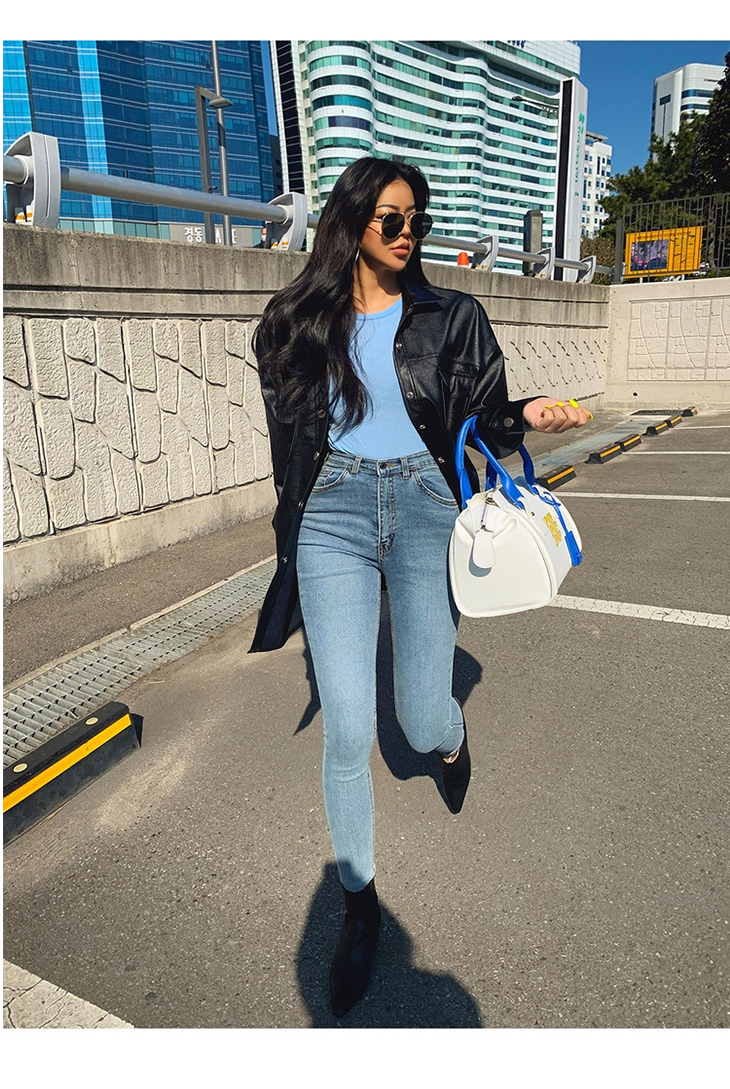 Women's Jeans High Waist Stretch Skinny Denim Pants 2020 Autumn Winter Blue Retro Washed Elastic Slim Pencil Trousers