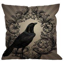 Nuevo Vintage Crow negro flor Lino cuadrado funda de cojín estándar funda de almohada para hombre mujer niños hogar sofá decorativo sillón Be
