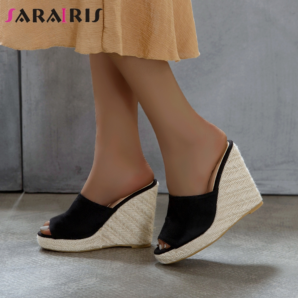 SARAIRIS Summer Slip-on Slippers New Arrival Hot Sale Super High Wedges Slippers Women Elegant Peep Toe Platform Shoes Woman