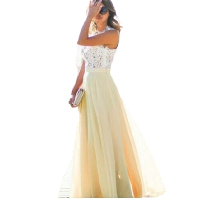 Women Long Maxi Dress Bridesmaid Lace Party Dress Fashion  Sleeveless Wedding Party Elegant Casual Wear 5