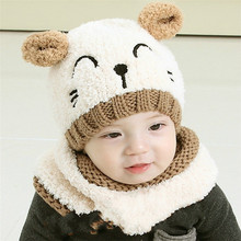 newborn hat  kids hats baby winter Boys Girls Crochet Beanie warm scraf animal lovely infant cute ears knitting cap