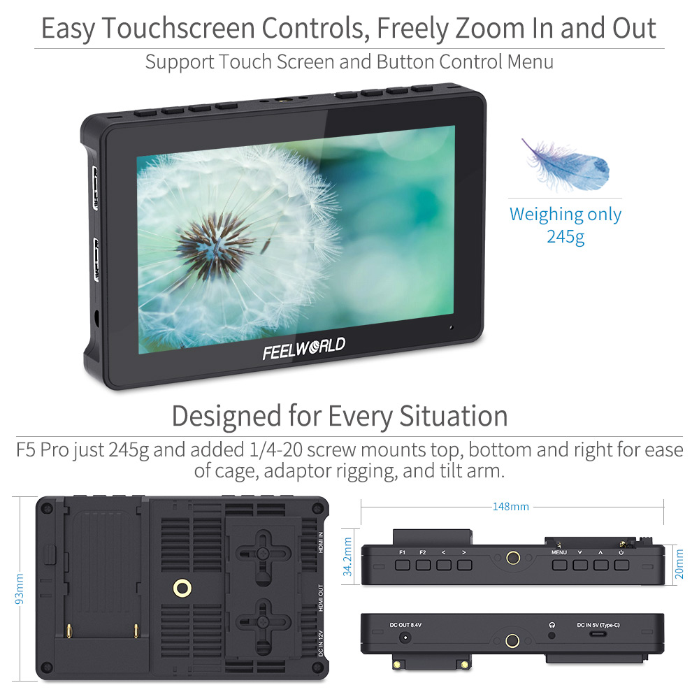 cheapest FEELWORLD F5 Pro 5 5 Inch on DSLR Camera Field Monitor Touch Screen IPS FHD1920x1080 4K HDMI Video Focus Assist for Gimbal Rig