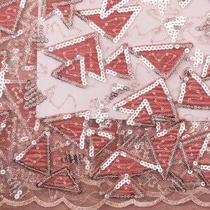 Image 5 - สีชมพูสีกำมะหยี่ลูกไม้ผ้าลูกไม้ไนจีเรียผ้า Sequins แอฟริกันสิ่งทอลูกไม้ลำดับผ้ากำมะหยี่สุทธิลูกไม้ WAPW2931B