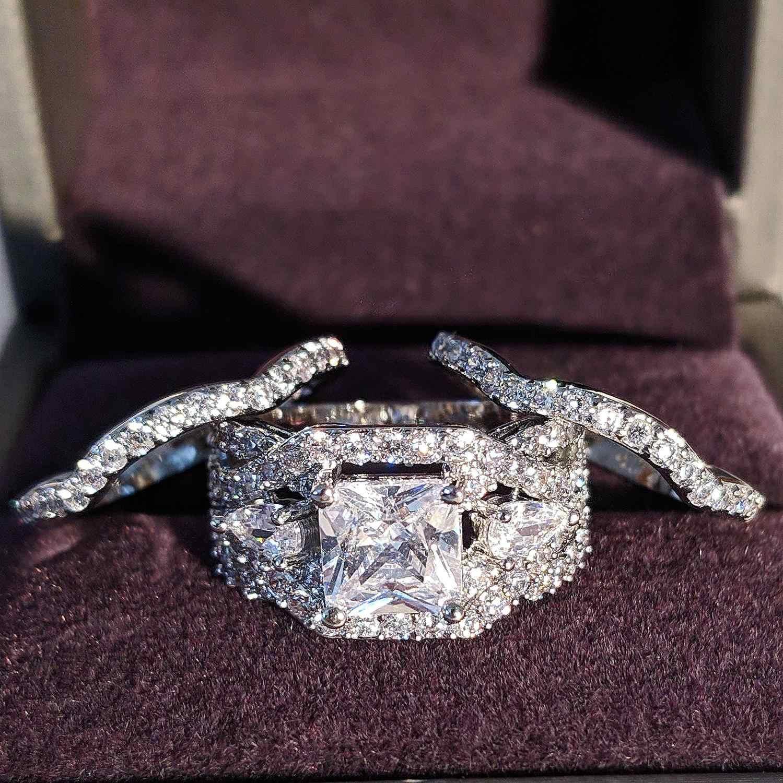 แหวนหมั้นแต่งงานชุดสำหรับเจ้าสาวแฟชั่นนิ้วมือ moonso เครื่องประดับ R4882