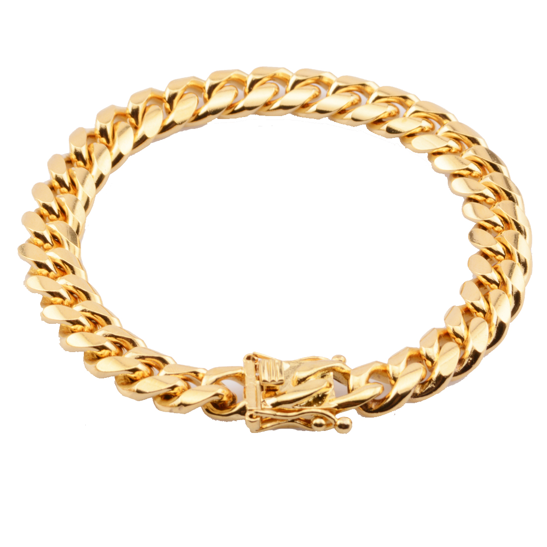 Classic Miami Cuban Curb Link Chain Bracelet Stainless steel Gold Mens Womens Hip Hop 10mm
