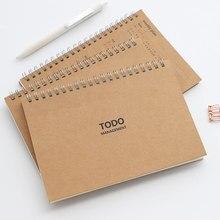 Diario semanal para hacer planificador, cuaderno de papel Kraft en espiral, cuadrícula forrada, papelería, carpeta A6, Bloc de notas, papelería de oficina