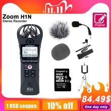 オリジナルズームH1NハンディデジタルボイスレコーダーポータブルオーディオステレオマイクインタビューマイクKingston16GB sdカードと可能な標識