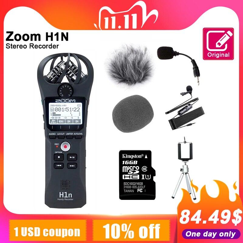 Zoom original h1n handy gravador de voz digital portátil microfone estéreo de áudio entrevista