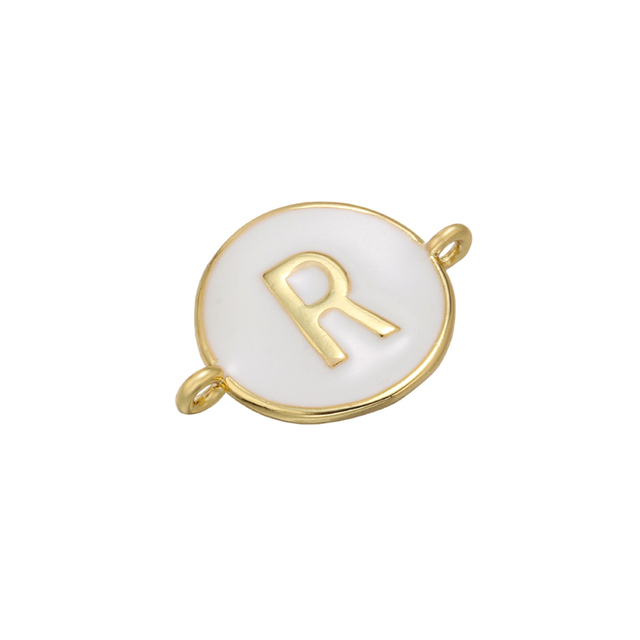 ZHUKOU 13x18mm white brass 26 letters jewelry connector for women bracelet necklace handmade jewelry accessories model: VS440