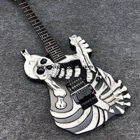 High quality 6 string electric guitar, alien guitar, skull electric guitar, white painted paint, maple neck, black accessories,