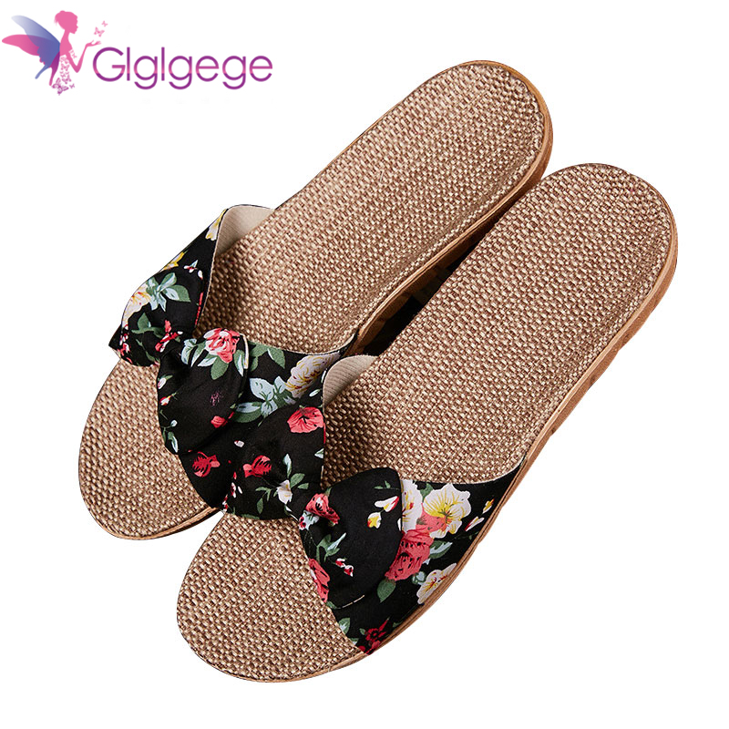 Buy Glgl Women Linen Slippers Summer Flax Home Slippers Cute Butterfly-knot Non-slip Unisex Family Slippers Floor Ladies Home Shoes