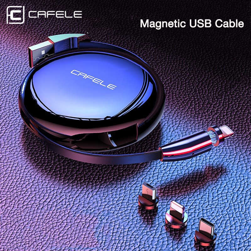 CAFELE 3 in 1 Magnetic USB Cable & Retractable Charging Cable for iPhone Quick Charger USB Micro Type C Cables 3A Fast Charge